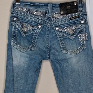 Miss Me Boot Cut Bling Jeans Back Pocket Flaps